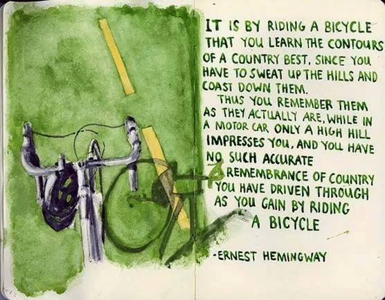 It is by riding a bicycle